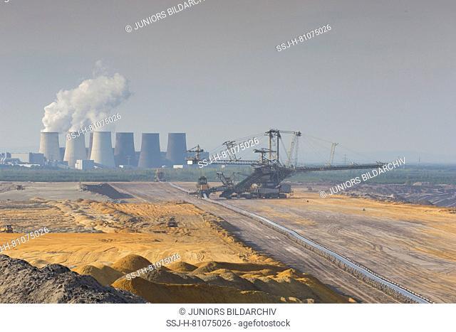 Boxberg lignite-fired power plant and Nochten opencast mine. Saxony, Germany