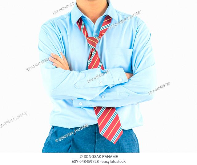 Man in long sleeve shirt wear keeping arms crossed while standing isolate on white background with clipping path