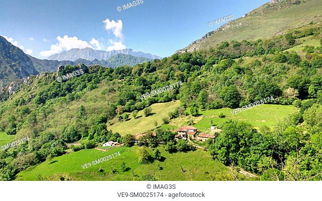 Ambingue village, Ponga Nature Park, located in the central-eastern sector of the Cantabrian Mountains, with the entire territory of the park lying within the...