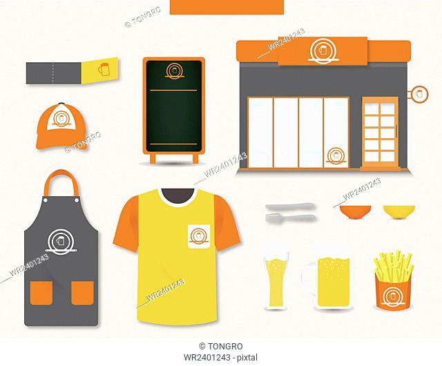 Set of various objects for fast food restaurant