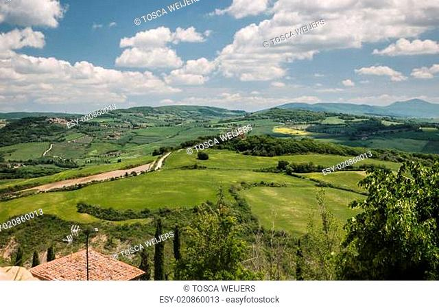 Panoramic view on the Val d'Orcia in Tuscany