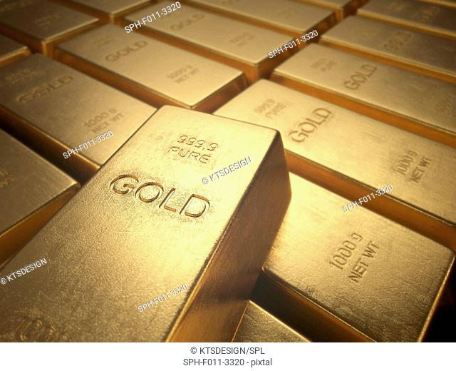 Gold bullion, computer illustration