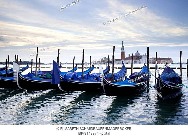 Gondolas and San Giorgio Maggiore at back, from St. Mark's Square, Venice, Venezien, Italy