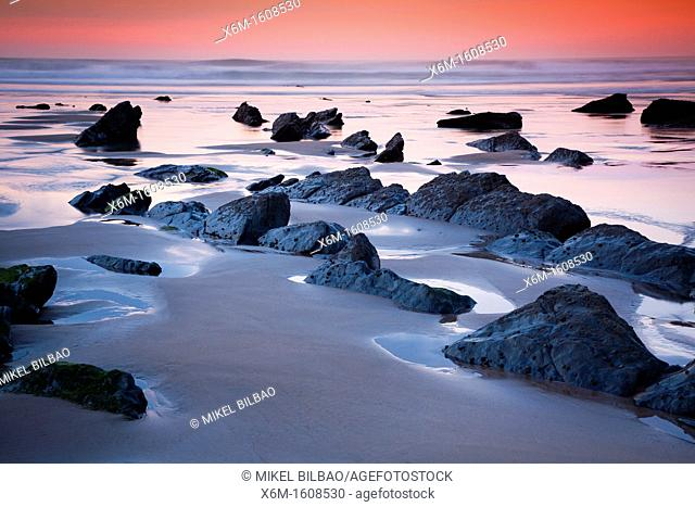 Coastline at sunset  Barrika beach  Biscay, Basque Country, Spain
