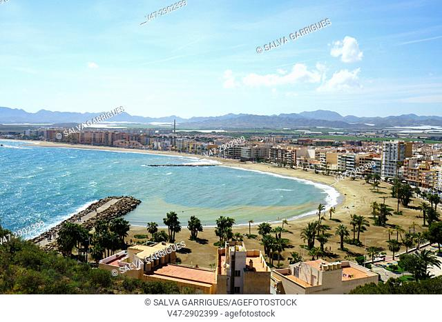 Panoramic view of the beach of Aguilas, Murcia, Spain