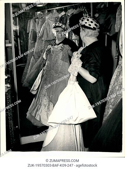 Mar. 03, 1957 - The 'Red Hot Mamma' in London .Sophie Tucker prepares for cabaret season. Sophie Tucker the world famous 'Red Hot Mamma' who is here for a five...