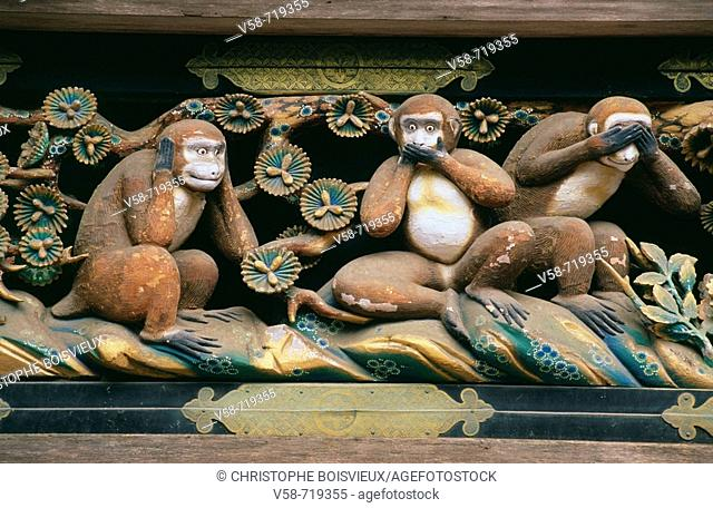 Statues of the three wise monkeys embodying the proverbial principle to 'see no evil. Hear no evil. Speak no evil'. Tosho-gu shrine. Nikko. Japan