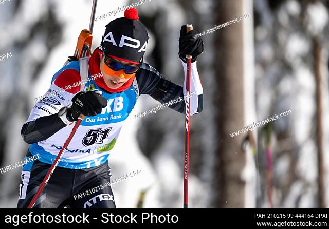 13 February 2021, Slovenia, Pokljuka: Biathlon: World Cup/World Championships, sprint 7.5 km, women. Sari Maeda from Japan in action