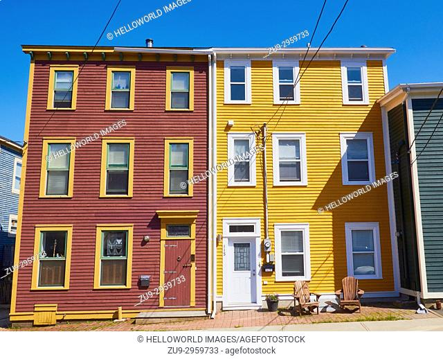 Bright coloured typical houses, St John's, Avalon Peninsula, Newfoundland, Canada