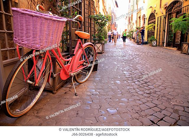 Bicycle on a street near Piazza Navona. Rome. Italy