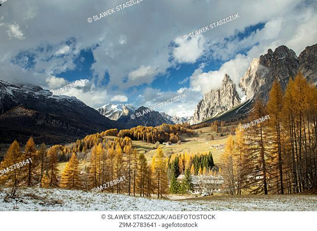 Autumn afternoon at an alpine meadow near Cortina d'Ampezzo, Dolomites, Italy