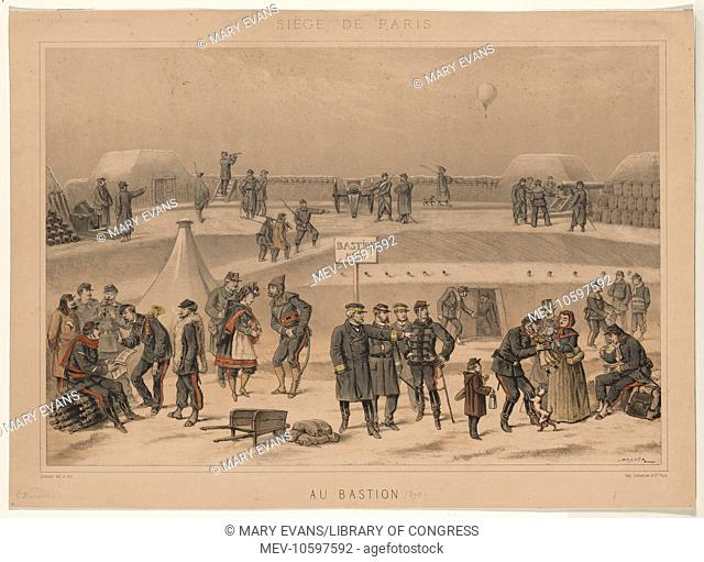 Siege de Paris. Au Bastion. Print shows military life at French fort, Bastion no. 95, during the Siege of Paris, 1870. A balloon flies over the fort in the...