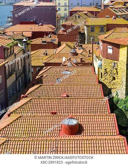 The roofs of the quarter Ribeira at the old harbour in the old town. City Porto (Oporto) at Rio Douro in the north of Portugal