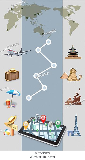 Infographic and elements representing overseas travel