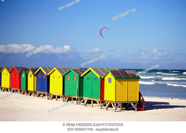 Muizenburg bathing boxes near Capetown. South Africa