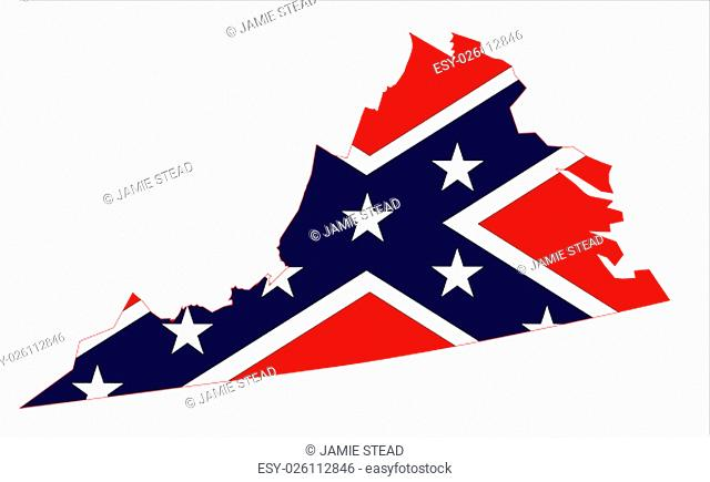 Outline of the state of Virginia with confederate flagover white
