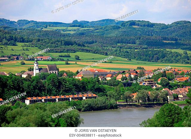 Aerial view on the Danube river and the town Emmersdorf an der Donau, in Lower A