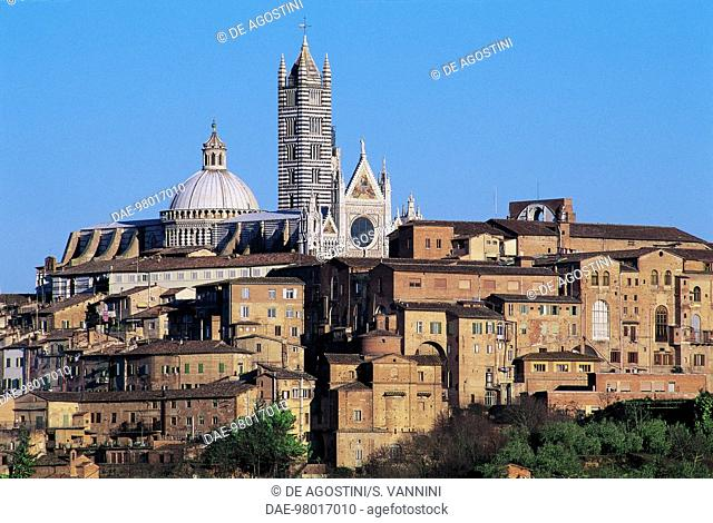 View of Siena cathedral or Cathedral of St Mary of the Assumption, Siena (UNESCO World Heritage List, 1995), Tuscany. Italy, 13th-14th century