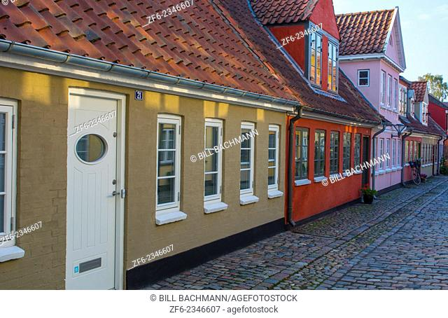 Odense Denmark beautiful old row homes cobblestone streets in Hans Christian Andersen birthplace home