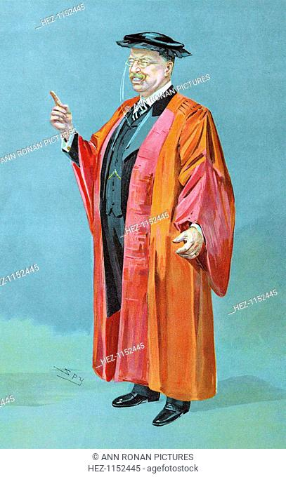 Theodore Roosevelt (1858-1919), 26th President of the USA, 1901-1909. 'Spy' cartoon from The World showing him in academic robes after being presented with an...