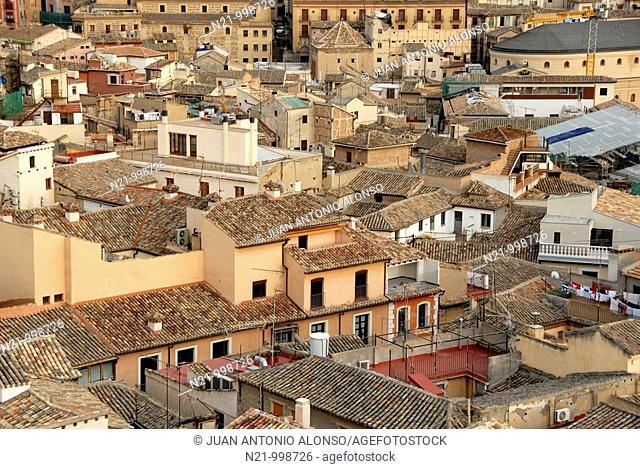 Roofs seen from the top of San Ildefonso Church, Toledo, Castilla-La Mancha, Spain, Europe