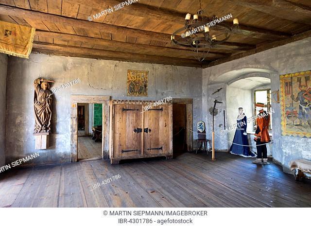 Great hall in museum, Alte Burg or Meersburg Castle, Meersburg, Lake Constance, Bodenseekreis, Upper Swabia, Baden-Württemberg, Germany