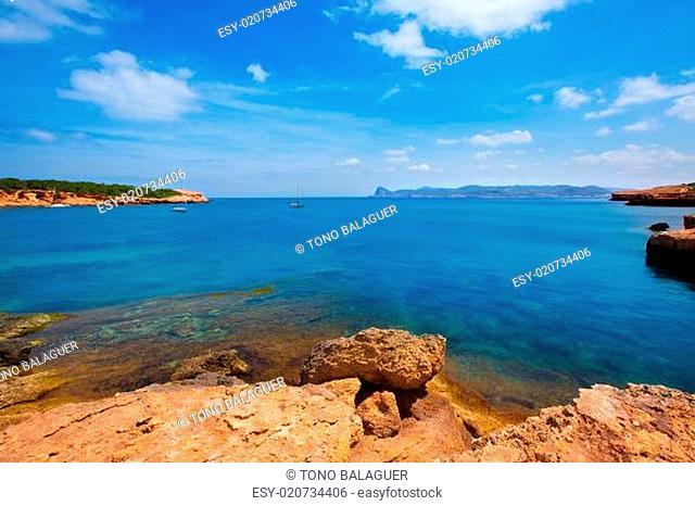 Ibiza Cala Bassa beach with turquoise Mediterranean