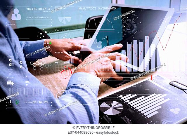 Intelligence (BI) and business analytics (BA) with key performance indicators (KPI) dashboard concept.Businessman hand working concept