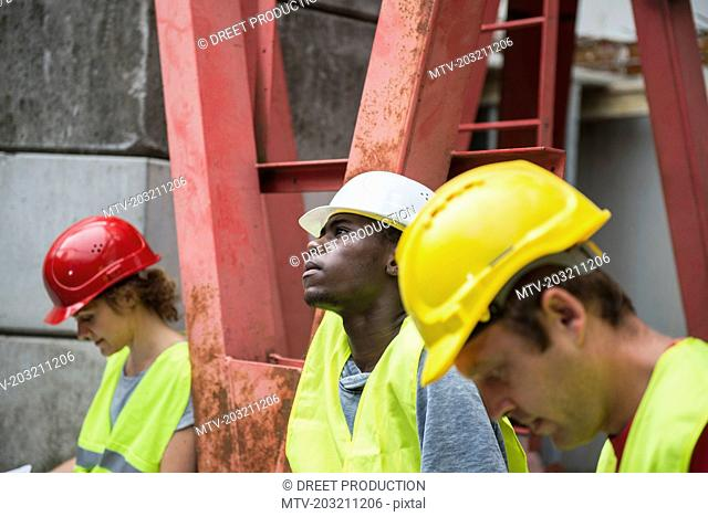 Construction workers at building site