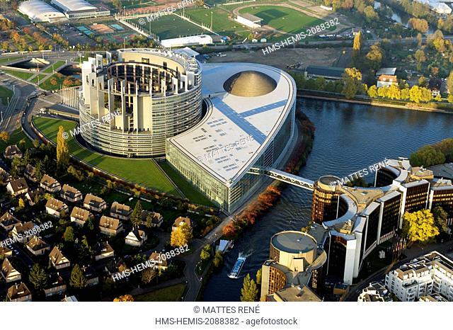 France, Bas Rhin, Strasbourg, European district with the European Parlement (aerial view)