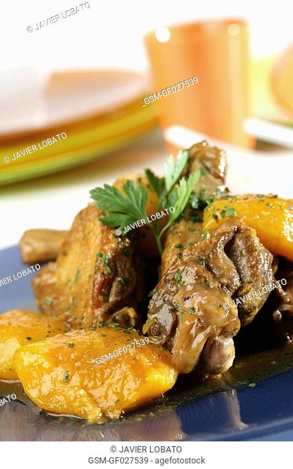 Duck with peaches
