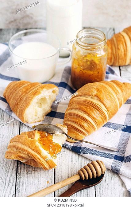Croissants, marmalade and milk