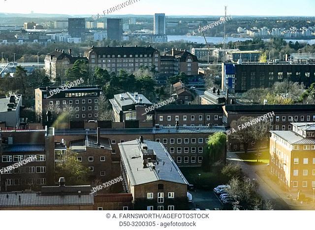 A view over the Karolinska Institute next to the newly built Karolinska Hospital. Stockholm, Sweden