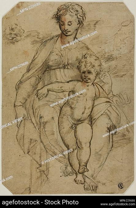 Virgin and Child (recto); Sketch of Three Saints (?) and Caricature Sketch (verso) - late 16th century - After Parmigianino Italian