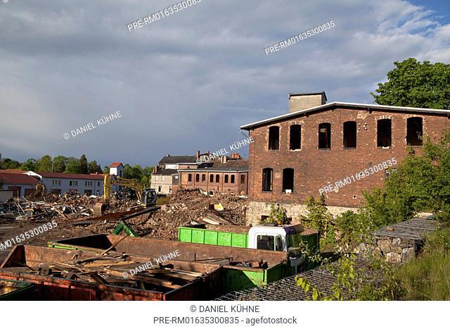 Former industrial area, Harzgerode, Harz District, Harz, Saxony-Anhalt, Germany / Abrissgelände in Harzgerode, Landkreis Harz, Harz, Sachsen-Anhalt, Deutschland