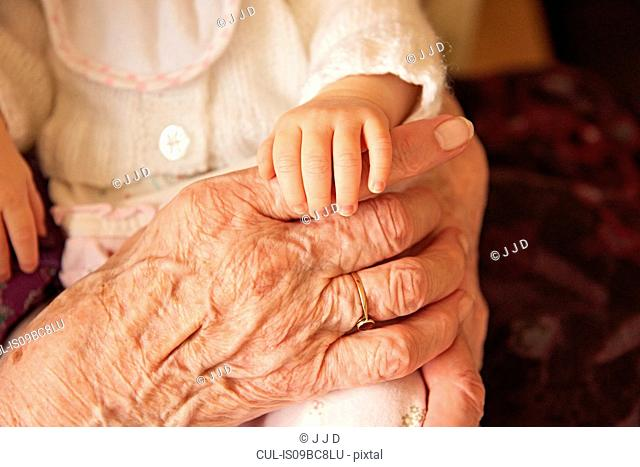 Senior woman holding baby great granddaughter, close up of hands