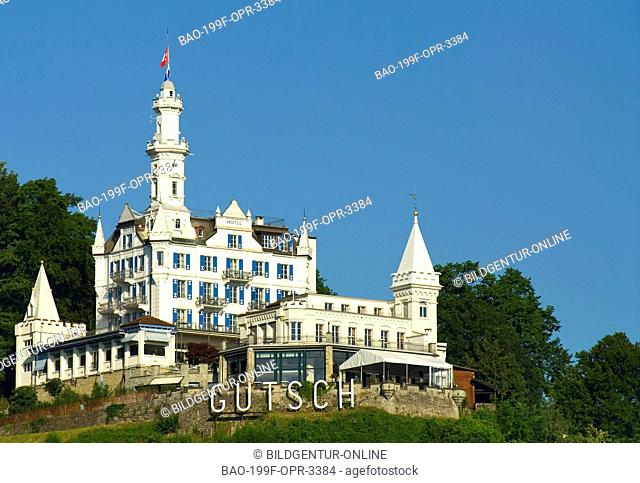 Image of the Chateau Gütsch, a fairytale castle with its own funicular overlooking the central Swiss city of Lucerne. The 118-year-old castle is owned by the...