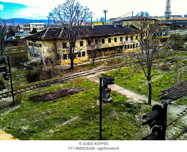 Sofia, Bulgaria. Abandoned building on a neglected railraod emplacement between Slatina and Hristo Botev Neighbourhoods. Due to corruption and therefor a lack...