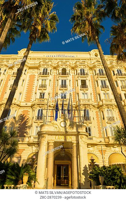 Hotel Carlton Intercontinental with Palm Trees in Cannes in Provence-Alpes-Côte d'Azur, France