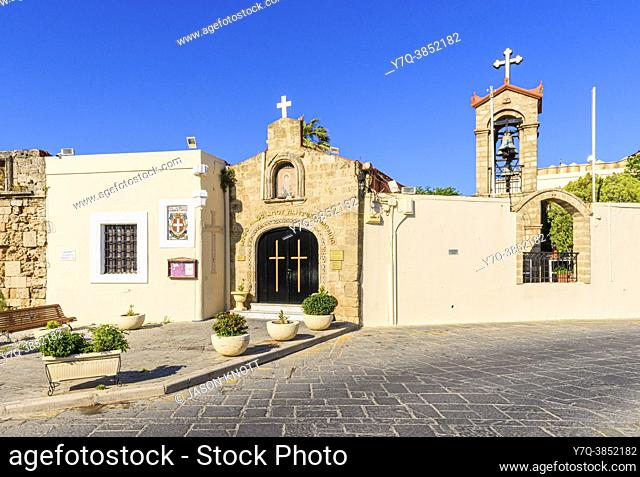 Church of St. Panteleimon located in the old Jewish Quarter, Rhodes Old Town, Rhodes, Dodecanese, Greece
