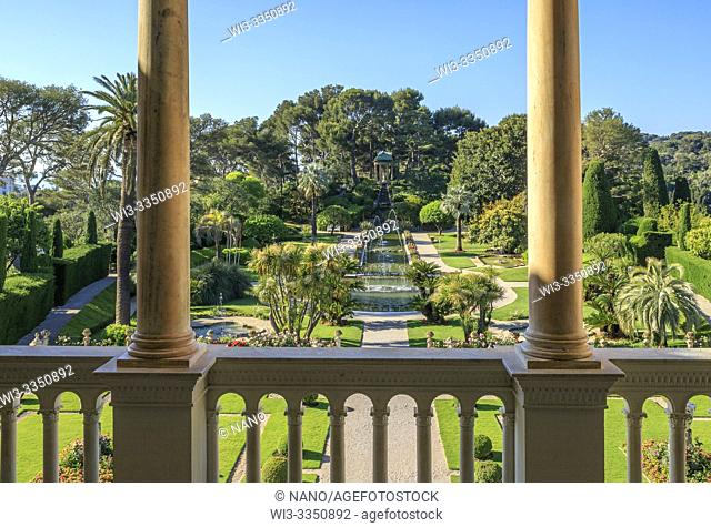 France, Alpes Maritimes, Saint Jean Cap Ferrat, villa and gardens Ephrussi de Rothschild, view on the French garden from the villa balcony (obligatory mention...