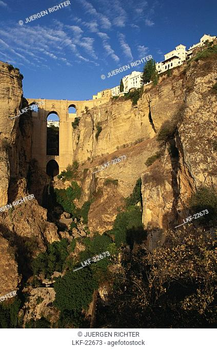 Puerte Nuevo, 18th century bridge above El Tajo canyon, Guadalevin River, Old town of Ronda, Province of Malaga, Andalusia, Spain