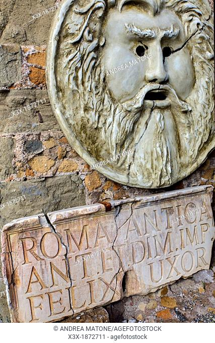 Copy of the Bocca della Verita' statue Rome Italy