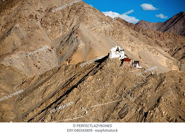 Himalaya mountains landscape with Buddhist monastery Namgyal Tsemo Gompa and fort in Leh. India, Ladakh