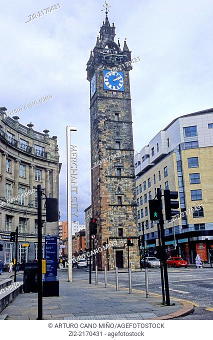 Tolbooth Clock Tower. Glasgow, Scotland, United Kingdom