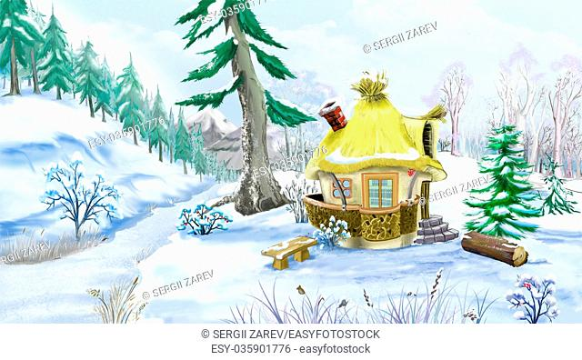 Snow Covered Green Pine Trees near a Fairy Tale House in a Winter day. Handmade illustration in a classic cartoon style