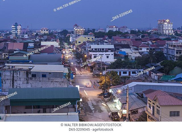 Cambodia, Battambang, elevated city view from the west, dusk