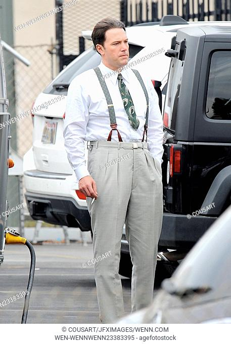Actor Ben Affleck taking a smoke break on the set of 'Live By Night' Featuring: Ben Affleck Where: Los Angeles, California