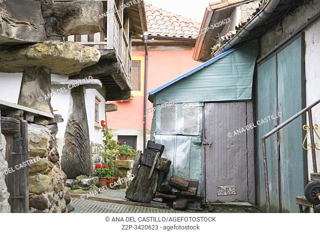 Torazo Asturias Spain on September 10, 2019: Horreos Traditional stone and wood construction for storage