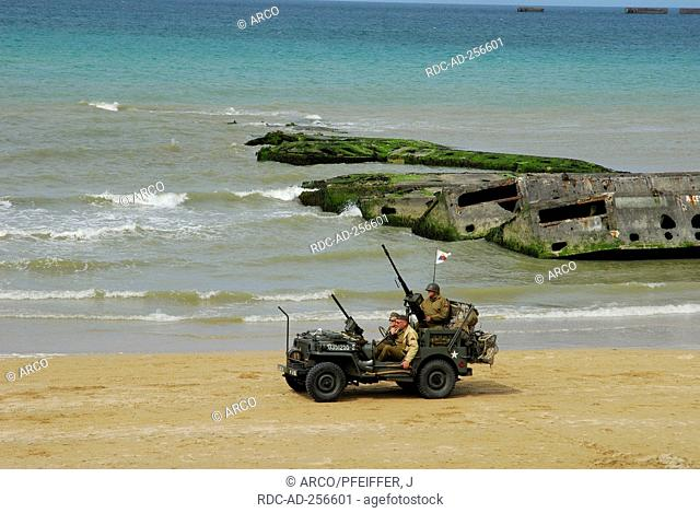 Rest of bridge and old army jeep Mulberry-Harbour landing of allied forces June of 1944 Second World War Arromanches-Les-Bains Basse-Normandie Normandy France...